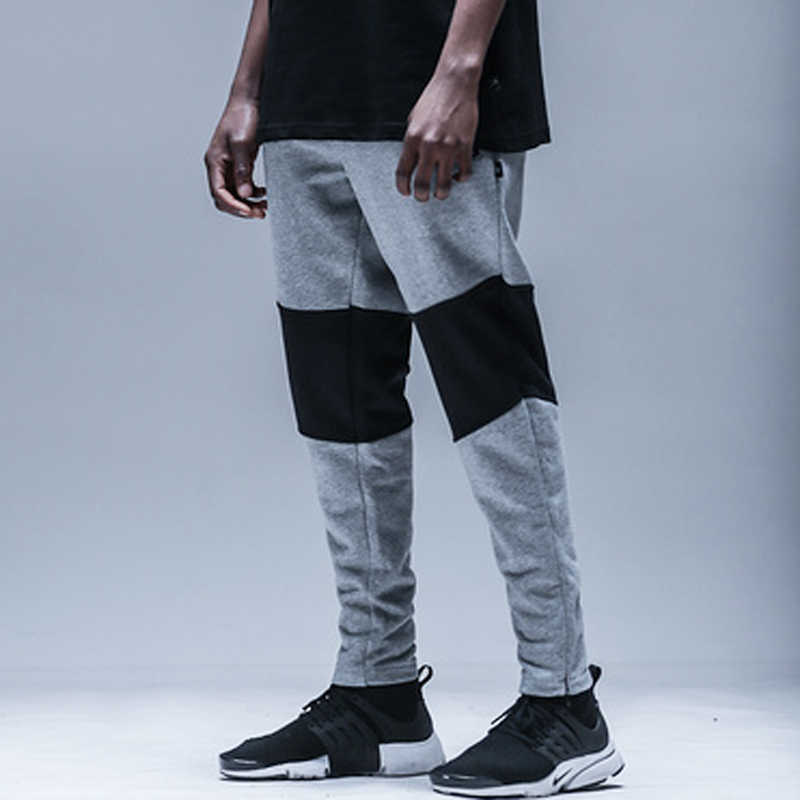 99f179f99491 high quality 2017 mens jumpsuit pants black grey patchwork joggers Long Pants  Men hip hop Casual