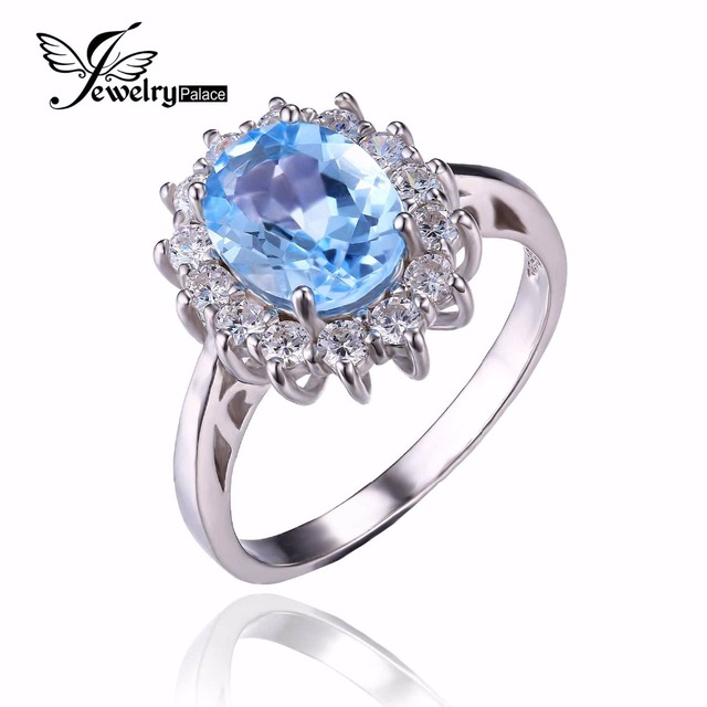 JewelryPalace Princesa Diana William Kate 2.3ct Natural Topacio Azul Anillo de Compromiso de Halo 925 Anillo de Plata Esterlina para Las Mujeres