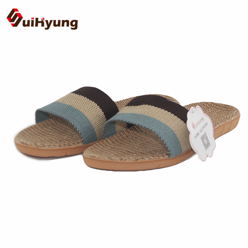 Suihyung Women Men Health Linen Slippers Colored Stripe Hemp Home Slippers Indoor Shoes Female Non-slip Beach Slippers Flip-flop suihyung 2018 new women summer shoes non slip beach linen slippers flip flop indoor floor slippers laides home bathroom slippers