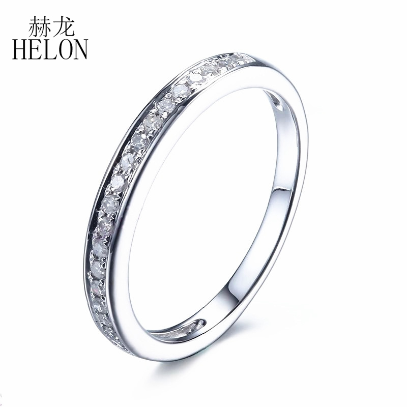 HELON Solid 14K White Gold Anniversary Band Engaement Wedding Pave Genuine Natural 0.2CT Diamonds Lady Fine Jewelry RingHELON Solid 14K White Gold Anniversary Band Engaement Wedding Pave Genuine Natural 0.2CT Diamonds Lady Fine Jewelry Ring
