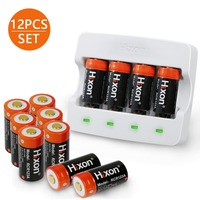 12pc Battery & charger 700mAh RCR123A 3.7V lithium ion 16340 rechargeable battery for Arlo HD camera and Reolink argus by Hixon