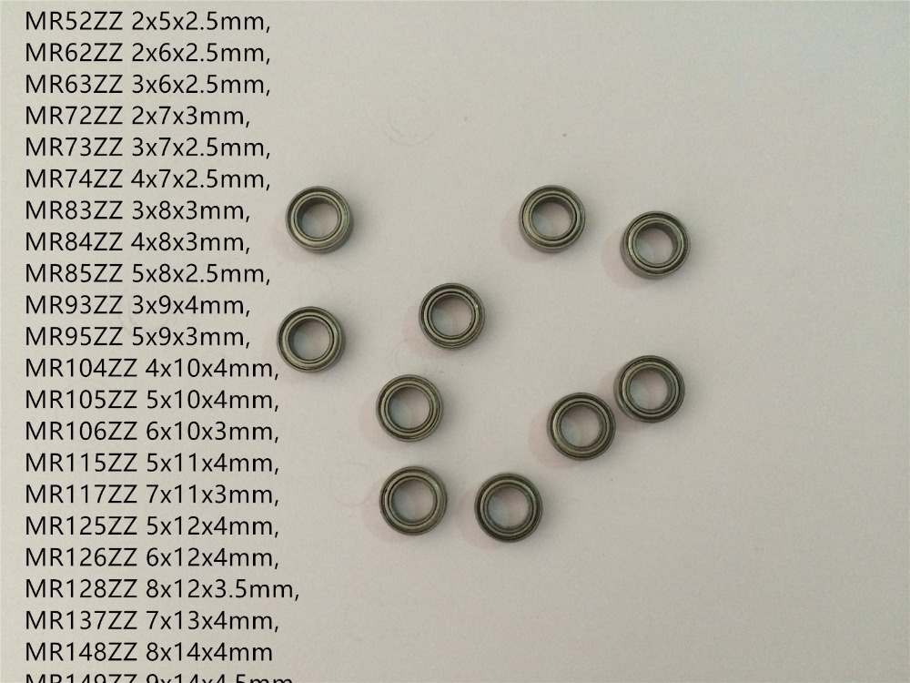 10pcs MR Series MR52ZZ To MR149ZZ Miniature Model Bearing Metal Shielded Ball Bearings