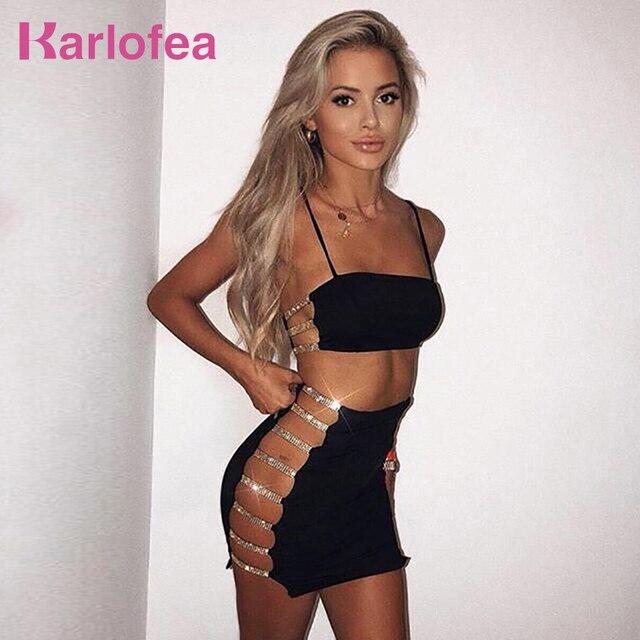 5dd1fd12a3c Karlofea Women Sexy Two Piece Club Wear Dress Side Cut Out Rhinestone Strap  Camis Top Wrap Mini Skirt New Bodycon Partywear Sets