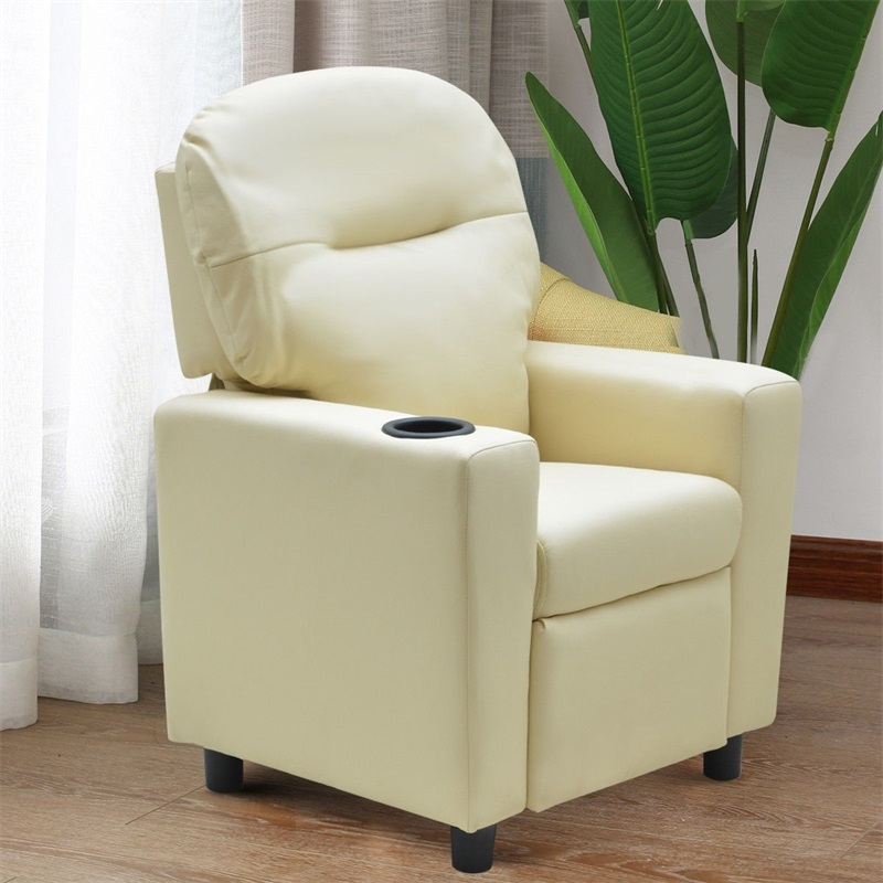 Kids Sofa Manual Recliner PU Ergonomic Lounge Chair With Cup Holder Durable Construction With Comfortable PU Leather HW56035