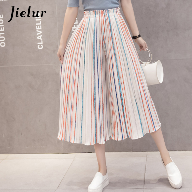 Jielur Fashion Beach Stripe Pleated Chiffon   Pants   Summer Chic S-XL Ankle-Length   Wide     Leg     Pants   Women Loose Lady Pantalon Femme