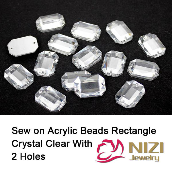 Naaien Rechthoek Kralen 10X14mm 13x18mm 18x25mm Plaksteen Taiwan Acryl Kralen Crystal Clear Naai DIY Kralen Voor Trouwjurk