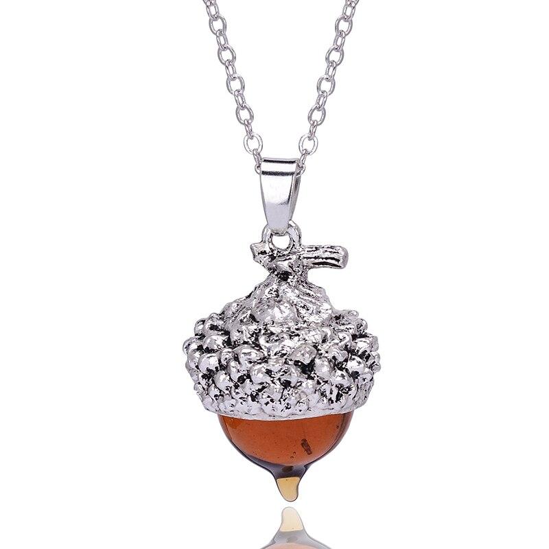 SEDmart 2016 Women Glaze Stone Necklace Orange Quartz Pine Cone Acorn Design Pendant Drop Crystal Glass Stone Necklace Jewelry in Pendant Necklaces from Jewelry Accessories