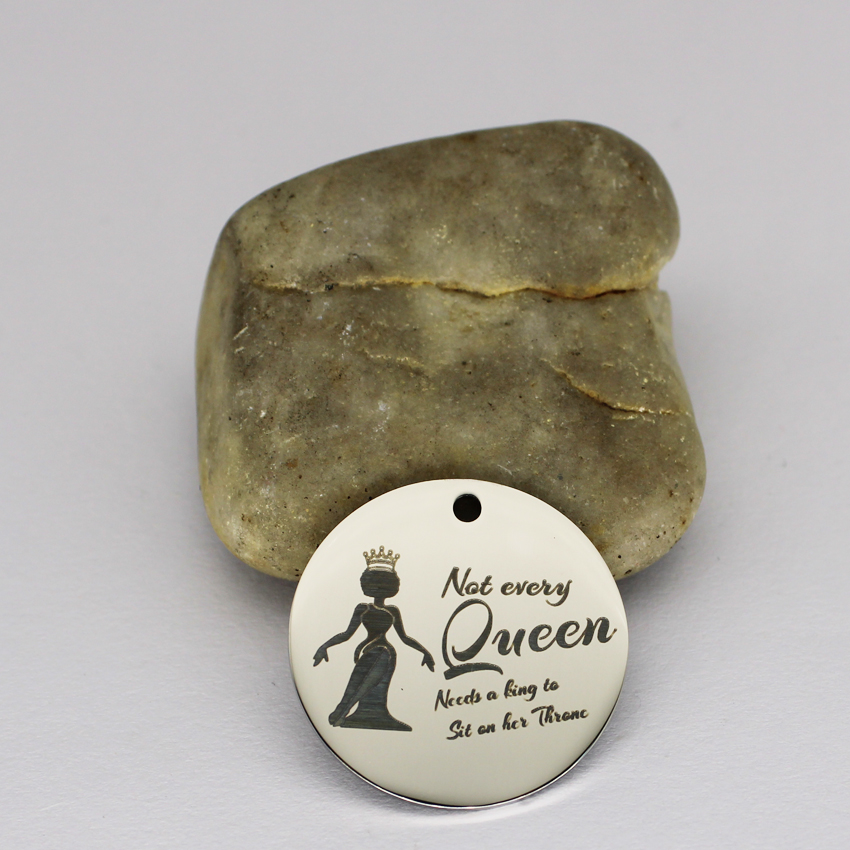 quot Black Woman Crown Queen quot Stainless Steel Charms 25mm High Polish Mirror Surface Jewelry Pendant Tag 20pcs in Charms from Jewelry amp Accessories