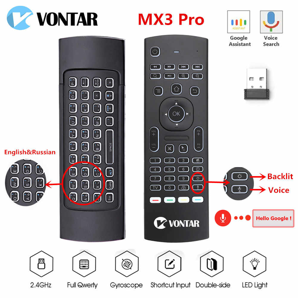 MX3 Udara Mouse Backlit MX3 Pro Mini Keyboard Nirkabel Smart Voice Remote Control 2.4G IR Belajar untuk Android TV kotak H96 Max X96