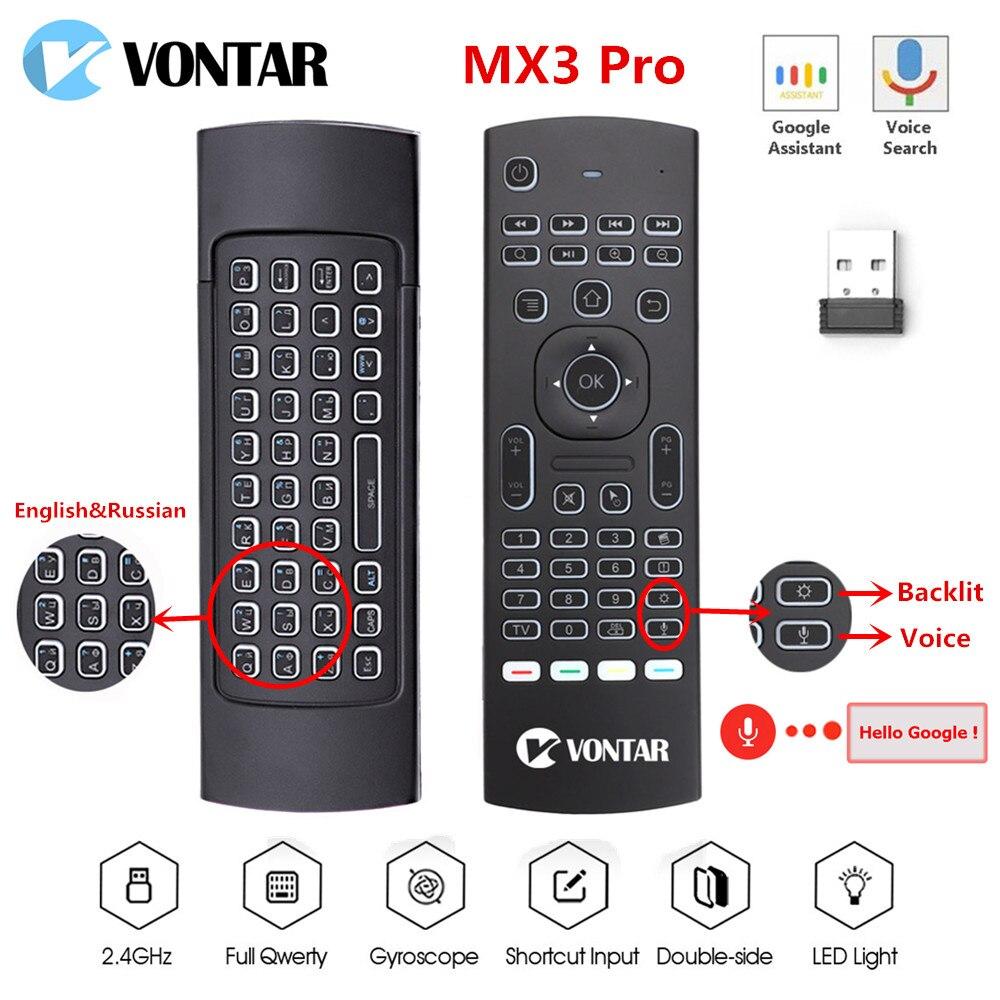 Беспроводная мини-клавиатура MX3 Air Mouse mx3 pro с подсветкой, умное голосовое дистанционное управление, 2,4 ГГц, ИК-обучение для ТВ-приставки Android H96...