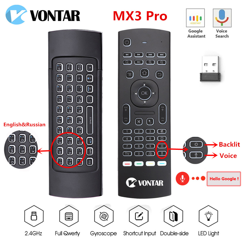 MX3 Air Mouse Backlit Mx3 Pro Mini Wireless Keyboard Smart Voice Remote Control 2.4G IR Learning For Android TV Box H96 MAX X96