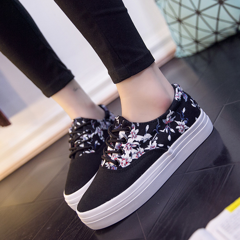 Women Print Flower Flats Casual Added Shoes Women Sneaker Tenis Feminino Lace-Up Canvas Female Shoes Summer Flat Footwear ALD905 wegogo canvas women casual shoes embroidery national casual flat shoe embroidered travel shoes flats sapato feminino bordado
