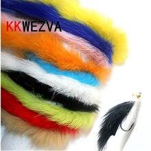 Kkwezva 10 m coelho pele lebre zonker cor para voar amarrando material streamer pesca moscas 5mm de largura pesca mosca isca inseto lula