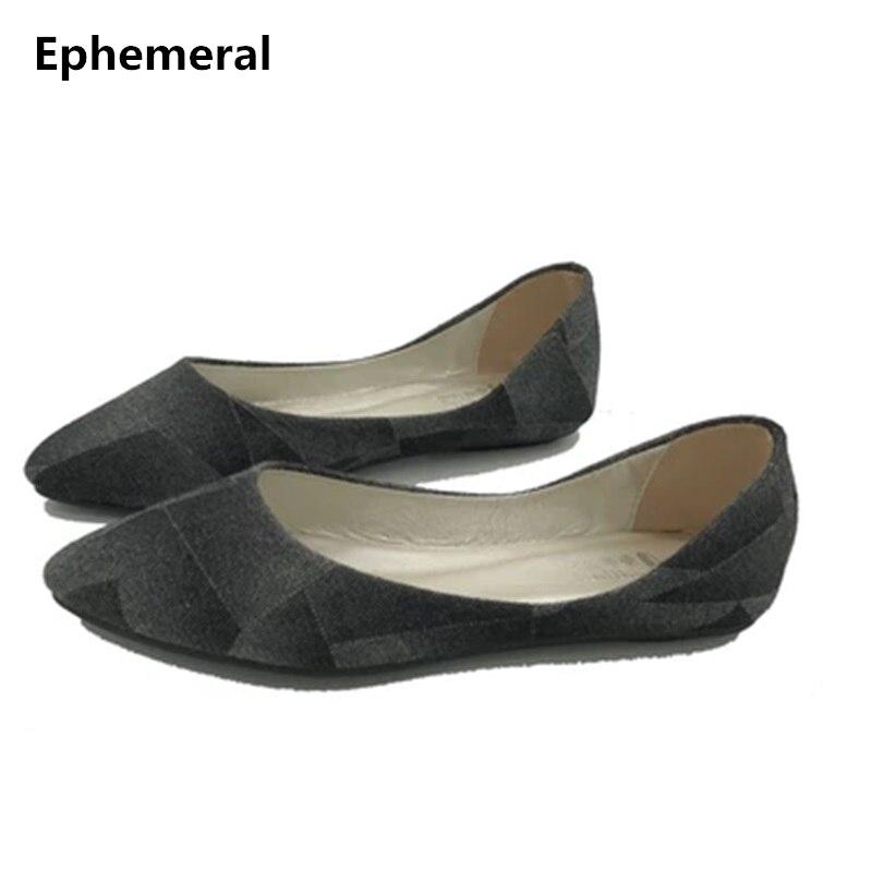 146f3b762 Senhora tamanhos grandes 34-46 45 sexy Denim respirável apontou toe Sem  Salto sapatos de