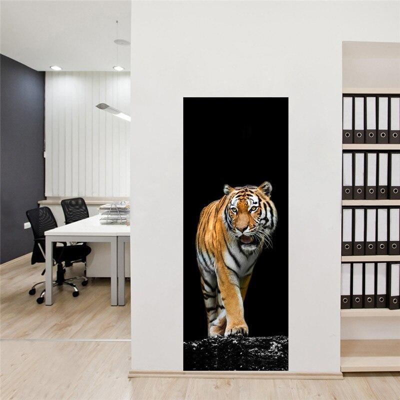 "Image 3 - 3d Door Wall Mural Wallpaper Stickers Giraffe Tiger White Horse Self adhesive Vinyl Removable Art Door Decals 30.3x78.7""-in Wall Stickers from Home & Garden"