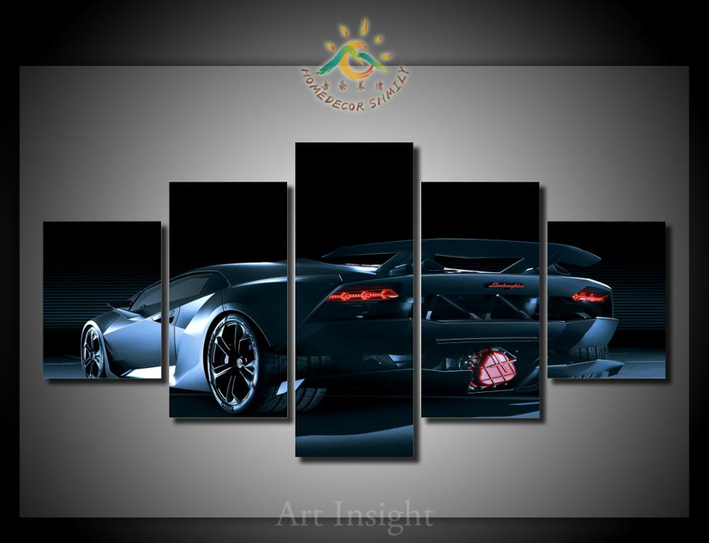 5 piecesset black luxury car wall art for wall decor home decoration picture paint