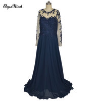 Real Photo Sweep Train Scoop Dark Blue Long Sleeves Appliques Chiffon Evening Formal Gown Dresses 2018 Prom