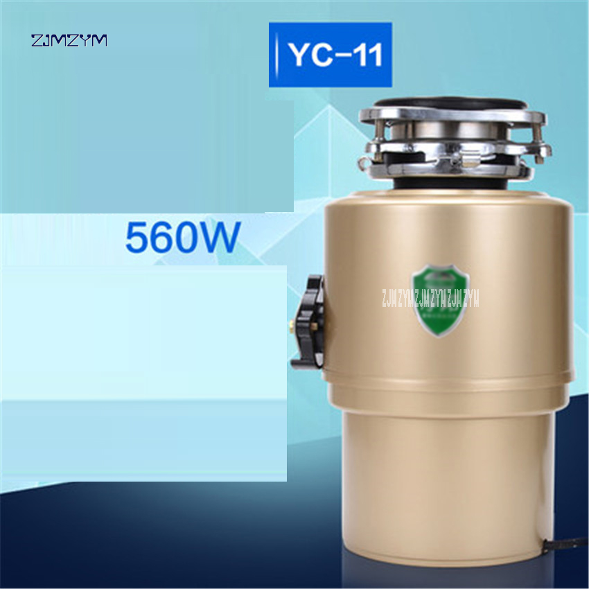 Kitchen Garbage Food Crusher Food Waste Disposer Stainless Steel Grinder Material Continuous Food Waste Disposer YC-11 560W 220V