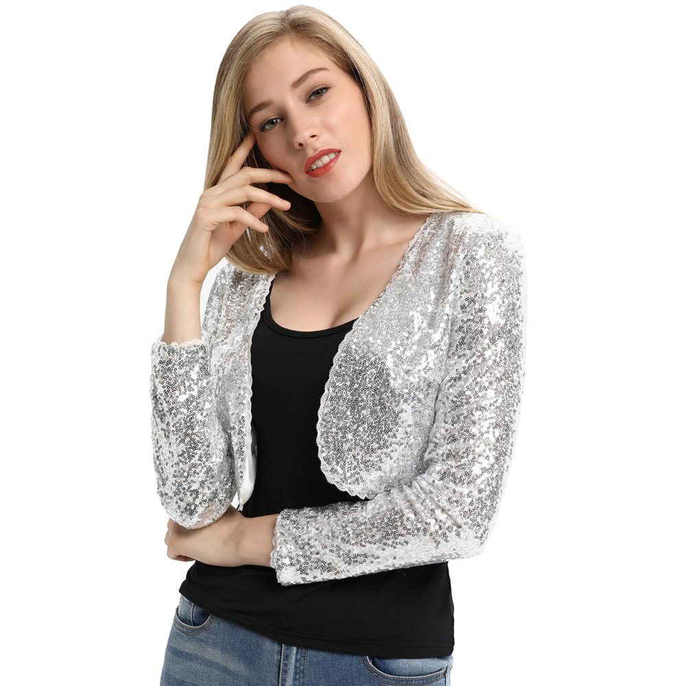 Belle Poque Women Shining Sequined Long Sleeve Jackets Cropped Length Open Front Bolero Shrug Coat Fashion Lady Cardigan Jackets