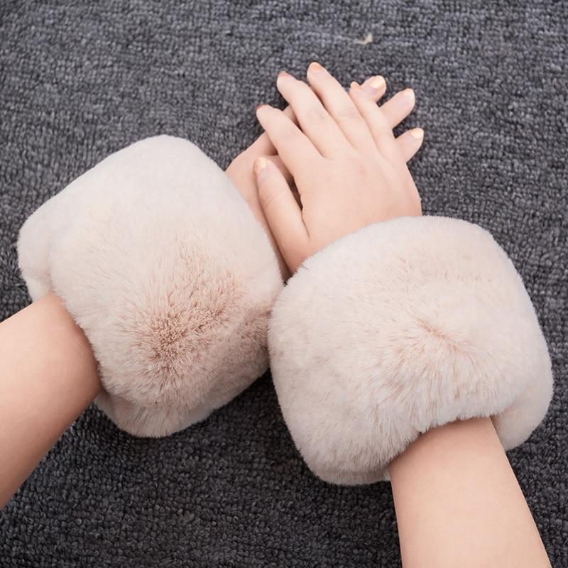 Fashion Warm Winter Oversleeve Arm New Women Cuff Wristband Soft Warm Winter Oversleeve Arm Warmer Women Faux Rabbit Fur