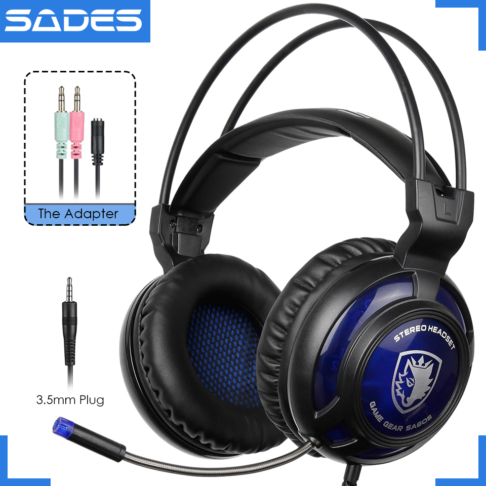 Original SADES SA-805 Single 3.5mm Plug Big Gaming Headset Game Headphone Earphone With Mic For PC/Phone/Laptop lucky john croco spoon big game mission 24гр 004