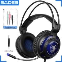 Original SADES SA-805 Solo 3.5mm Enchufe Grande Gaming Headset Juego de Auriculares Auriculares Con Micrófono Para PC/Teléfono/Laptop
