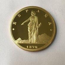 5 шт. 1870 Espana монета 24 K настоящее позолоченное 32 мм Испания значок сувенирное украшение монета