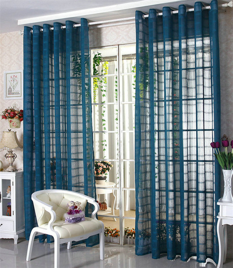 Aliexpress Buy Linen Tulle Sheer Voile Curtains Window Panel Drapes For Living Room Bedroom Trimming BlueWhiteRed Gauze Free Shipping From