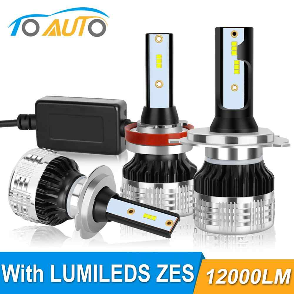 2Pcs H4 H7 Led H1 H11 H3 HB4 9006 HB3 9005 H27 Led with Lumileds ZES Chips Canbus 80W 12000LM Car Headlight Bulbs Auto Lamp