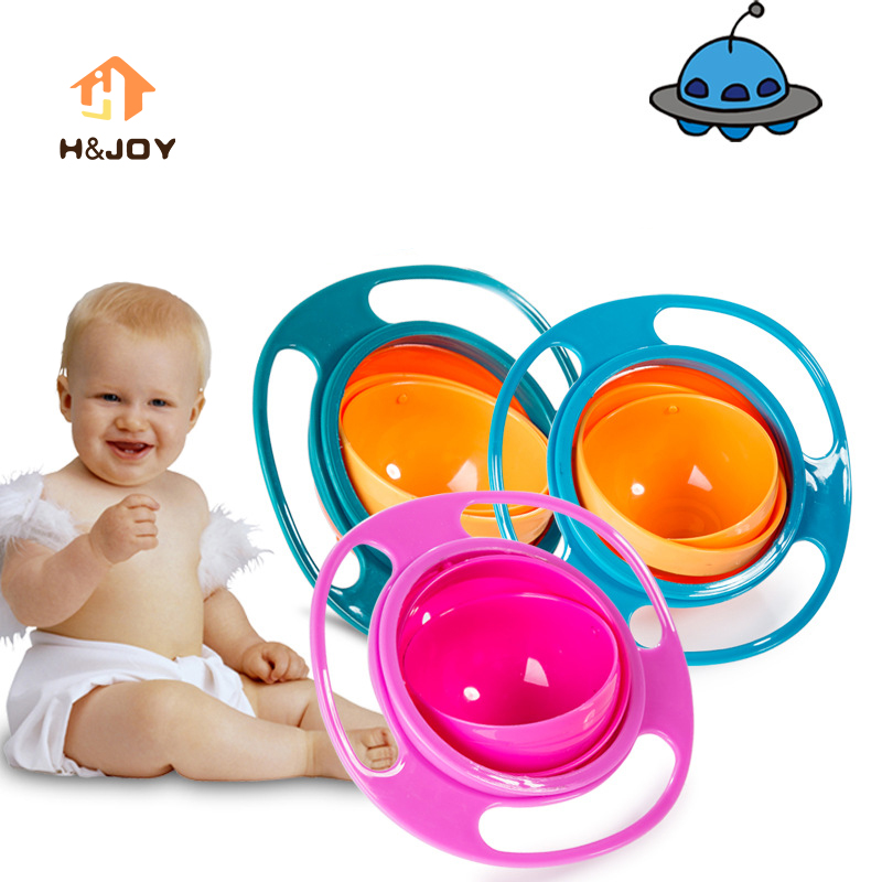 Child Universal Gyro Bowl Children Rotary Balance Bowl Cute Baby Feeding Dish 360 Rotate Spill-Proof Bowl Kids Anti Messing Bowl
