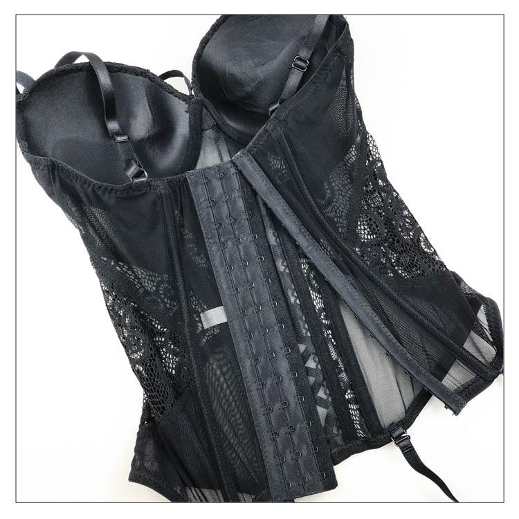 Sous-vêtements sexy pour femmes élasticité Corset à lacets dos Sexy corps Bustier surbuste avec bretelles ceinture tissu respirant Lingerie