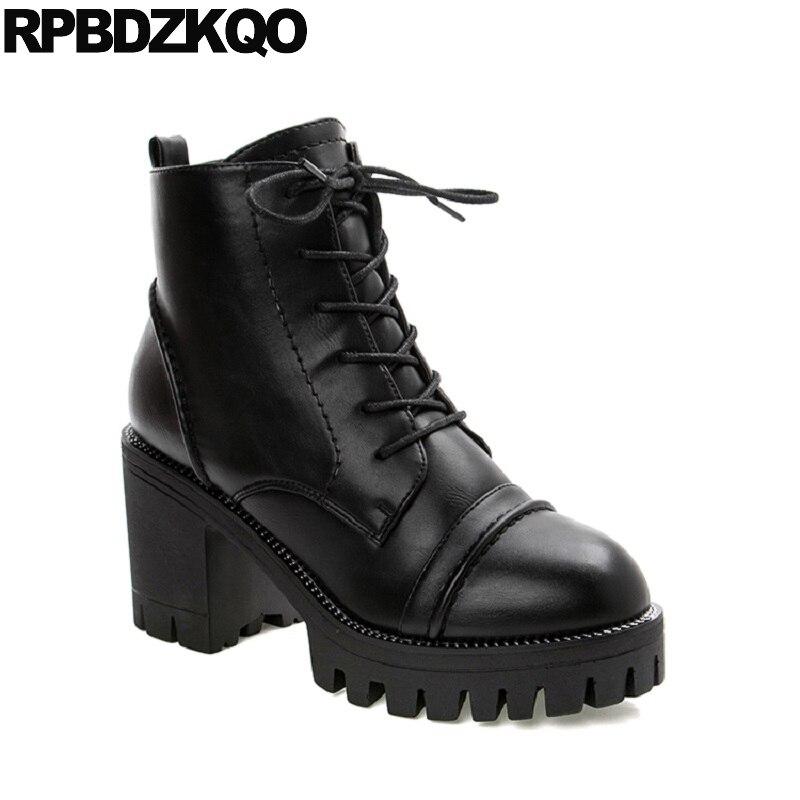 Rond Bloc forme Femmes Hauts Noir Bout Chaussures Mode À De Chunky Européenne Hiver Cheville Combat La Dentelle Fourrure Militaire Court Talons Up Plate Dames ZadwqZ