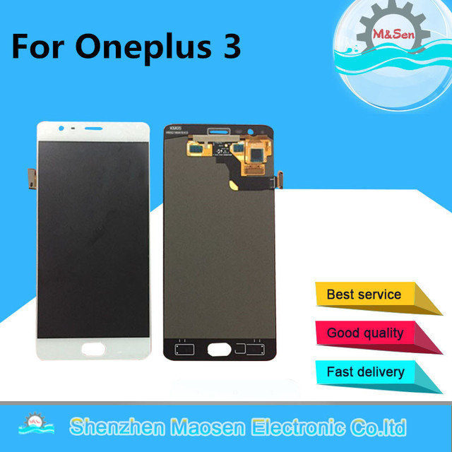 M&Sen For oneplus three oneplus 3 A3000 A3003 EU version LCD screen display+touch panel digitizer  white/black free shipping