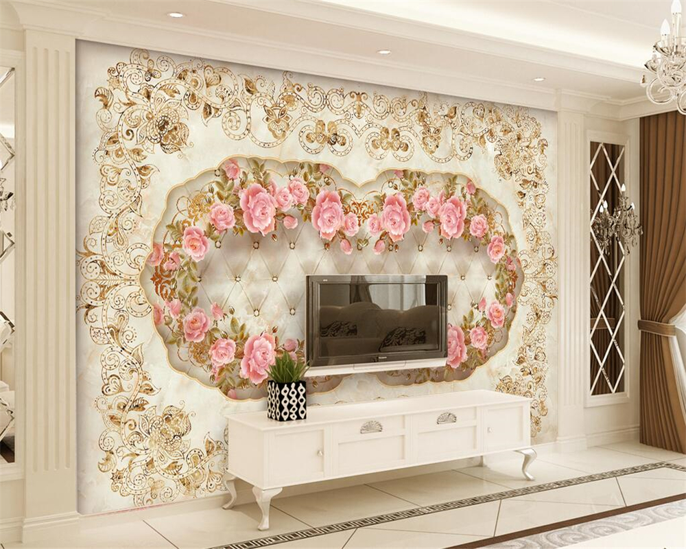 Décoration Murale En Relief us $8.85 41% off|beibehang home decoration wallpaper custom mural european  pattern marble pattern relief flower tv background wall 3d