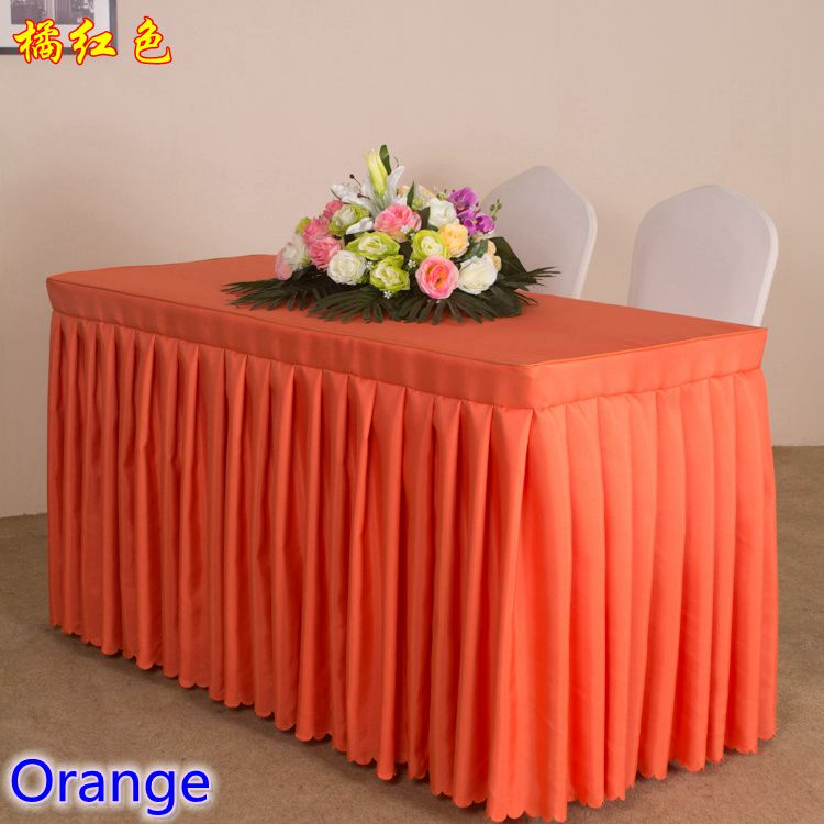 Orange Colour Modern Wedding Table Skirt Polyester Swag Pleated