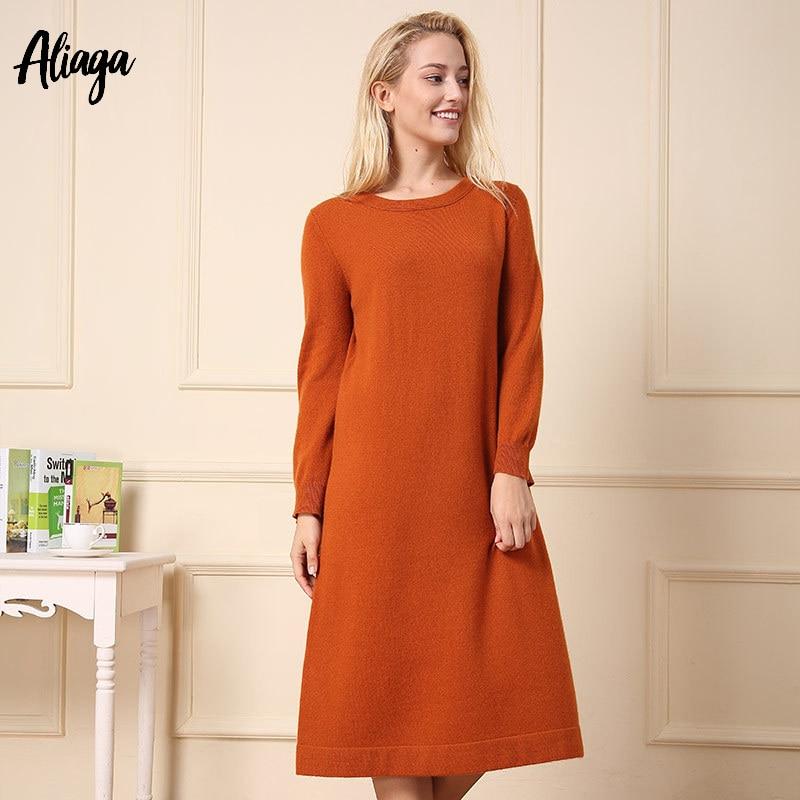 Nouveauté Robe orange Femmes Robes Pur Manches 2018 Longues 100 Pull Piste Chandail Tricoté Automne À white Tricots Cachemire Chaud Gray IdwEHz