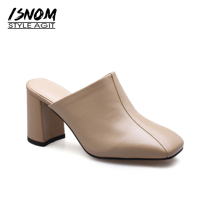 ISNOM Summer High Heels Women Slipper Square Toe Hoof Heels Outside Slides Footwear Genuine Leather Fashion