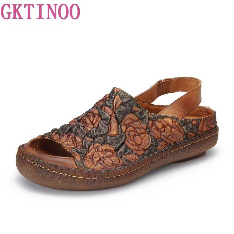 separation shoes 137d7 ed952 GKTINOO Embossed Flower Sandals Shoes Lady 2019 Natural Leather Peep Toe  Women Sandale Handmade Elastic Band Casual Female Shoes