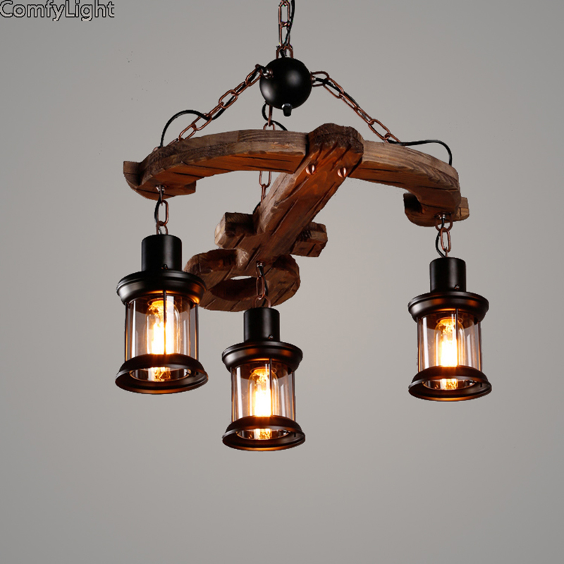 Vintage country Pendant Lights Home Lighting retro HangLamp Wood Lampshade Bedroom Kitchen island lustre E27 glass pendant lamps