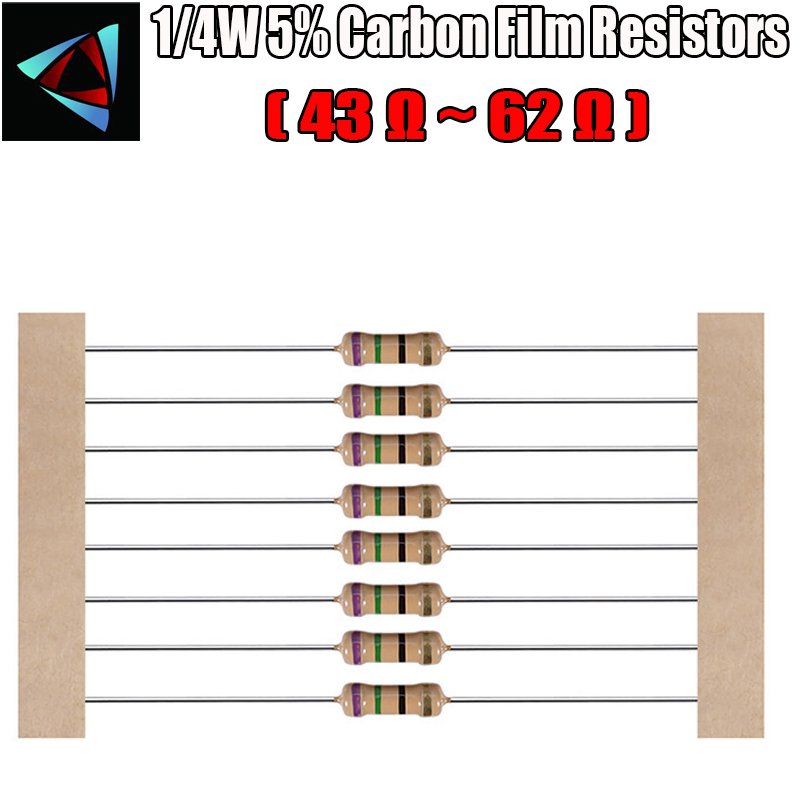 100pcs 1/4W 5% Carbon Film Resistor 43 47 51 56 62 Ohm
