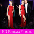 Sheath Halter Backless 2015 Miley Cyrus Sexy High Slit Prom Dress Open Back Jersey Stretchable Celebrity  Formal Evening Gown