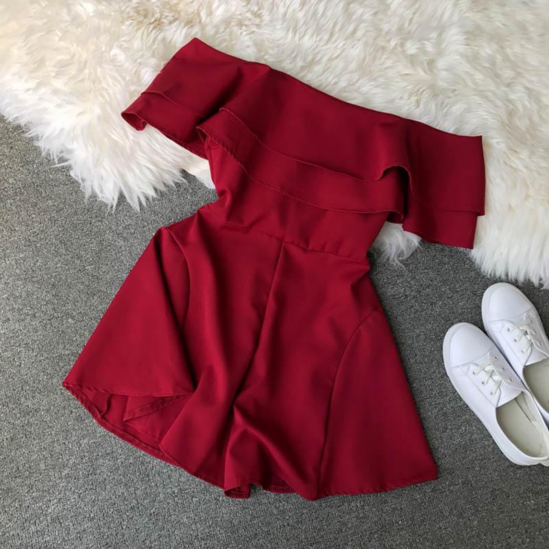 Candy Color Elegant Jumpsuit Women Summer 2019 Latest Style Double Ruffles Slash Neck Rompers Womens Jumpsuit Short Playsuit