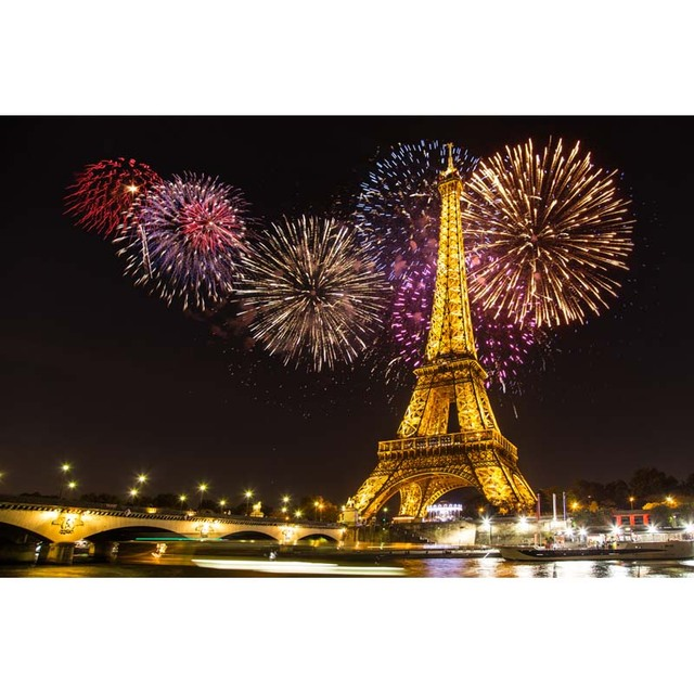 Vinilo Fotografia Telon De Fondo Fuegos Artificiales Torre Eiffel