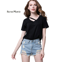 Europe And America Womens Foreign Trade Dress Irregular Short Sleeved T Shirt Modal Pure Blouse Summer