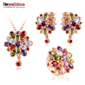 LZESHINE Wedding Jewelry Sets Silver Plated AAA Zirconia Flower Pendant Neckalce /Earrings/Rings Women Jewelry Set  CST0038-B