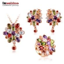 Lzeshine de joyas para boda plateado aaa zirconia flor neckalce pendiente/pendientes/anillos joyería de las mujeres set cst0038-b