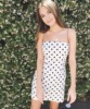 Kendall Jenner Sleeveless Polka Dot Sheath Dress Women Summer White Bodycon Wrap Mini Dress Sexy Spaghetti Strap Party Dress 5