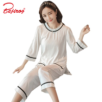 Bejirog White Stripe Women S Sleep Clothes Knitted Cotton Cardigan Long Sleeve Pajama Sets For Female