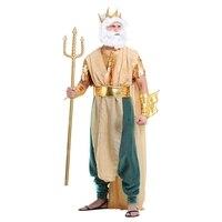 Regal Erwachsene Mans Master Der Meere Posidon Griechische Gott König Neptune Halloween Cosplay Kostüm