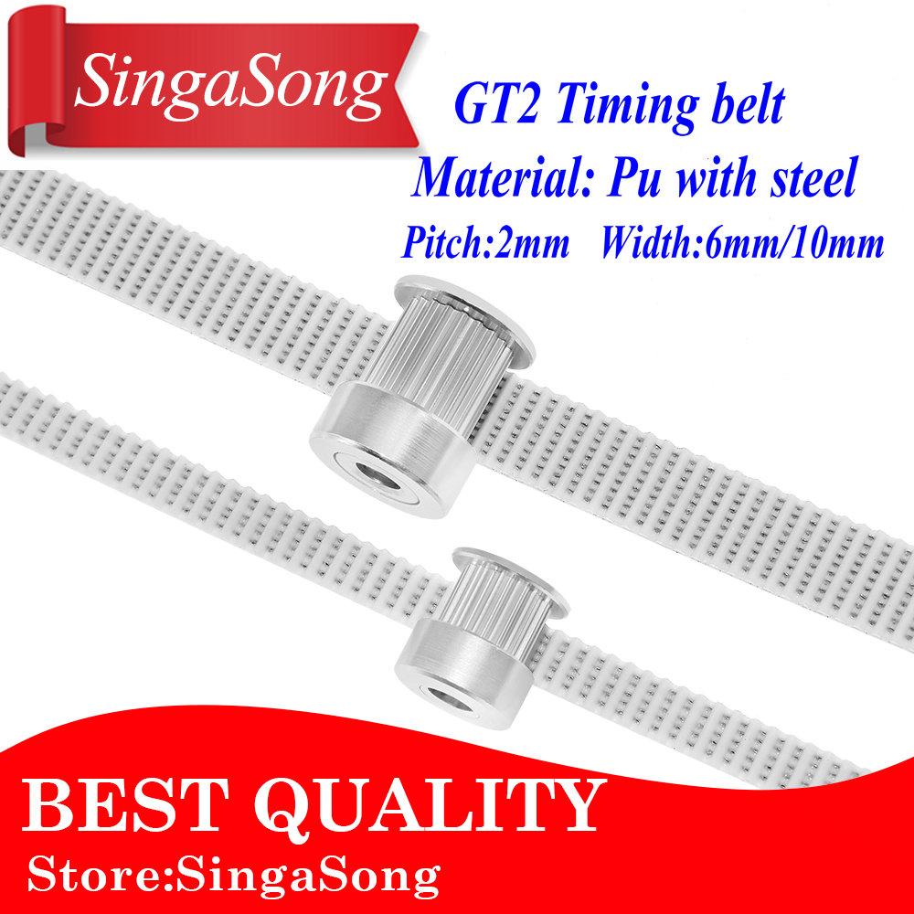 6mm PU With Steel Core Timing Belt GT2 Timing Belt White Color 2GT Open Timing Belt 6mm 10mm Width 2M For 3d Printer